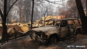 Burnt out car in Winmalee