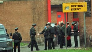RUC officers at the scene of the 1993 gun attack