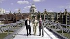 Tony Fitzpatrick, Lord Foster and sculptor Sir Anthony on the Millennium Bridge
