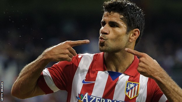 Diego Costa celebrates scoring for Atletico Madrid.