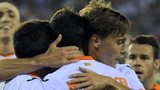 Valencia players celebrate after scoring during the Europa League Group A match against St Gallen
