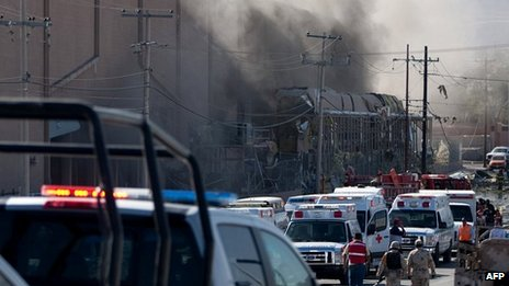 Smoke billows from sweet factory in Ciudad Juarez, Mexico. 24 Oct 2013
