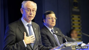 European Council President Herman Van Rompuy addresses news conference. 25 Oct 2013