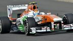 Force India's Adrian Sutil drives in first practice at the Buddh International Circuit