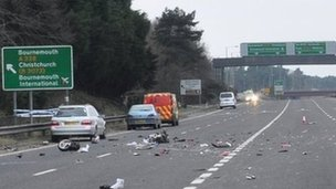 The scooter parts on the carriageway after the crash
