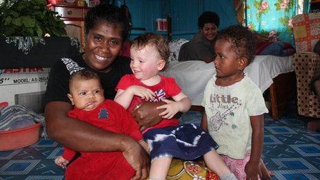 Lemba, who Madeleine interviewed, with Scarlett and her own children