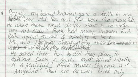 Extract from Samantha Lewthwaite's diary