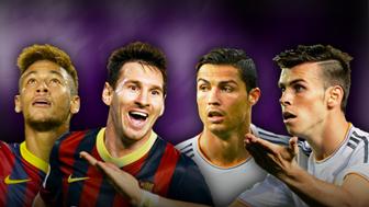 Neymark, Lionel Messi, Cristiano Ronaldo and Gareth Bale