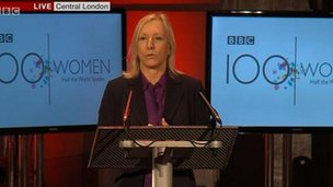 Martina Navratilova addresses 100 Women event