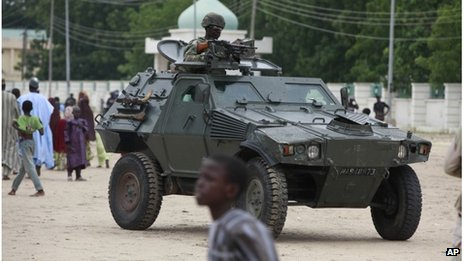 File photo of Nigerian troops patrolling in Borno state, August 2013