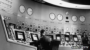 Control console of a Magnox nuclear power station