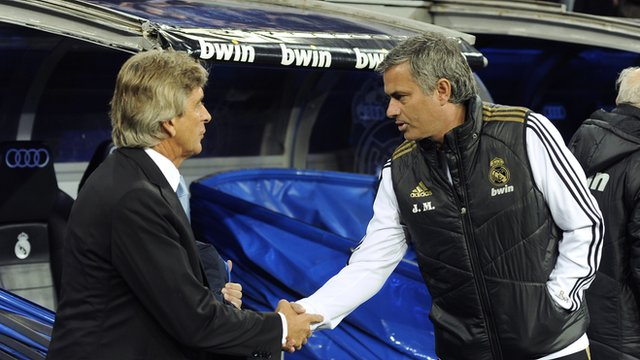 Jose Mourinho and Manuel Pellegrini shaking hands in 2012