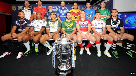 Players from the 14 nations taking part in the Rugby League World Cup 2013