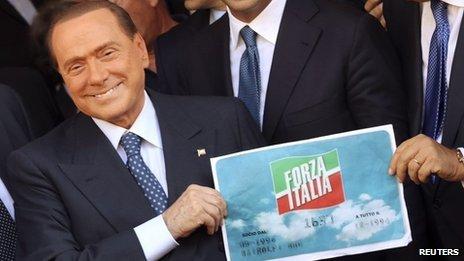 Silvio Berlusconi holding a Forza Italia logo