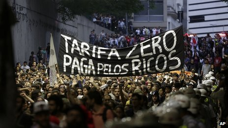 Protesters march in Sao Paulo. 25 Oct 2013