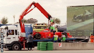 Michael Schumacher's stricken Ferrari at the 1997 European Grand Prix