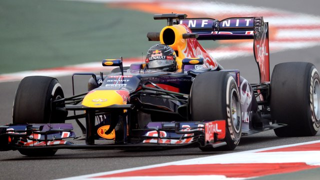 Sebastian Vettel heads a Red Bull one-two in second practice for the Indian Grand Prix.