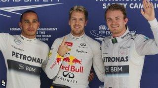 Lewis Hamilton, Sebastian Vettel and Nico Rosberg
