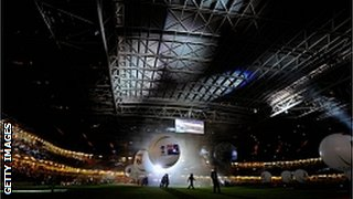 The opening ceremony at the Millennium Stadium