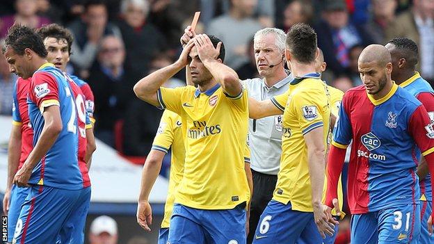 Arsenal's Mikel Arteta is sent off at Crystal Palace