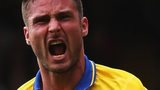 Arsenal striker Olivier Giroud celebrates scoring against Crystal Palace