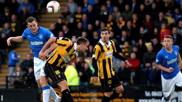Jon Daly scores for Rangers against East Fife