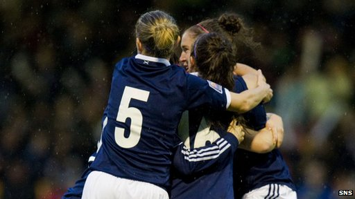 Scotland's Jane Ross is congratulated on her early strike