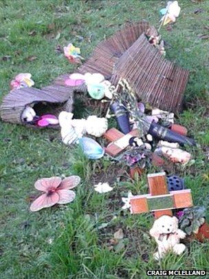 Vandalised grave of children of Craig McLelland in Lowestoft
