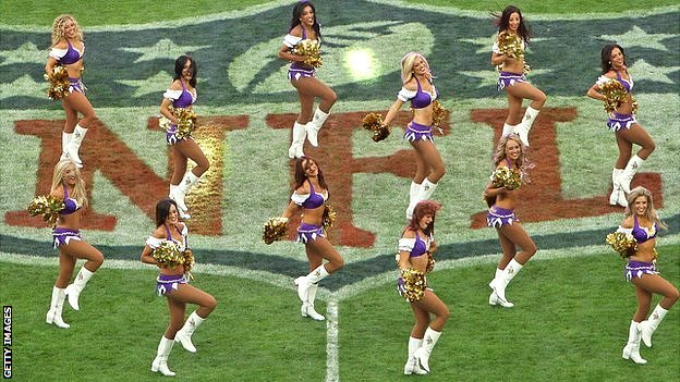 Cheerleaders at NFL fixture at Wembley in London