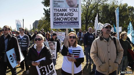 "Demonstrators hold signs supporting fugitive former NSA contractor Edward Snowden as they gather for the ""Stop Watching Us: A Rally Against Mass Surveillance"" near the U.S. Capitol in Washington, October 26, 2013"