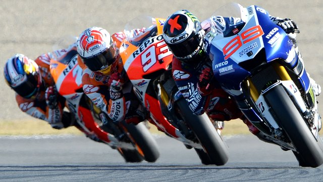 Jorge Lorenzo leads Marc Marquez and Dani Pedrosa at Twin Ring Motegi