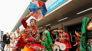 Local dance troupe in the Indian GP paddock