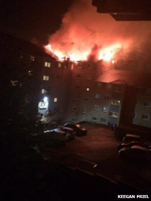 The fire was well-developed when firefighters arrived at the flats