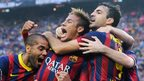 Barcelona forward Neymar celebrates his El Clasico goal against Real Madrid