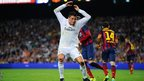 Real Madrid forward Cristiano Ronaldo expresses his frustration against Barcelona