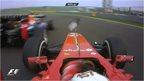 Fernando Alonso crashes into Mark Webber