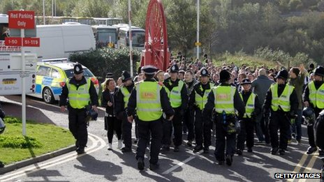 Newcastle fans and police
