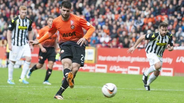 Nadir Ciftci scores a penalty for Dundee United against St Mirren