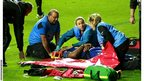The Dragons number eight Toby Faletau is stretchered off the field during his side's defeat to the Ospreys on Friday evening.