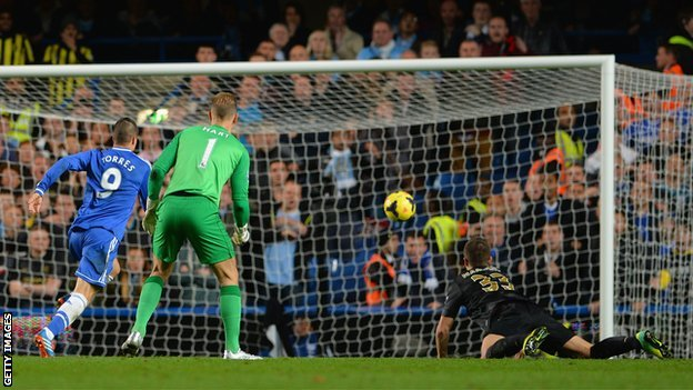 Fernando Torres scores Chelsea's winner against Manchester City