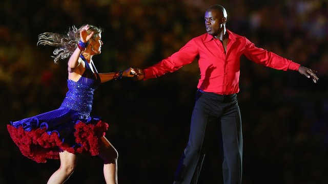 Martin Offiah dancing during Rugby League World Cup 2013 opening ceremony