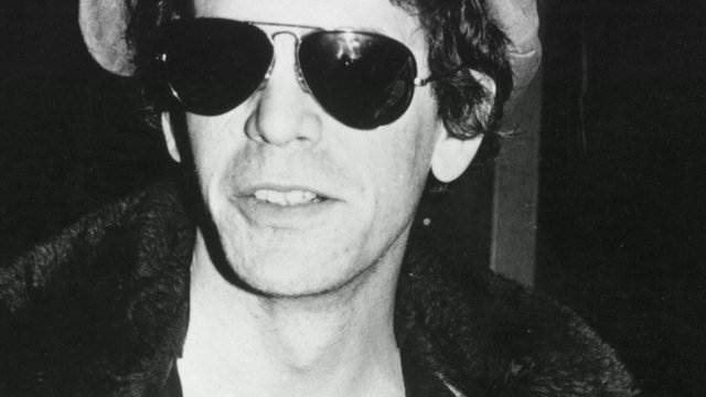 Black and white photograph of Lou Reed