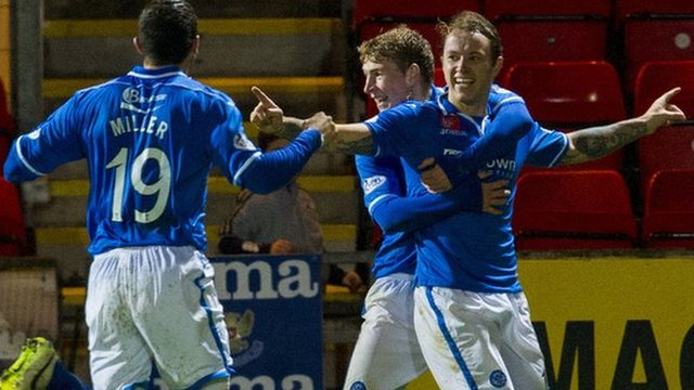 St Johnstone striker Stevie May celebrates his opening goal