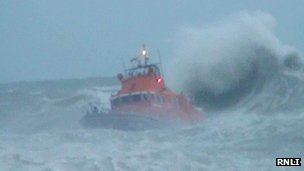 The Newhaven lifeboat taking part in the search