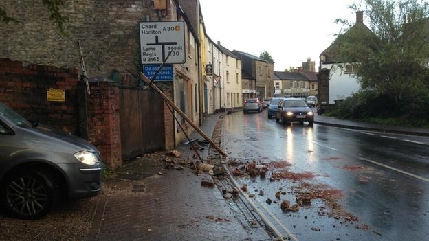 Fallen chimney stack in Crewkerne