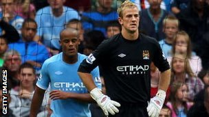 Joe Hart and Vincent Kompany