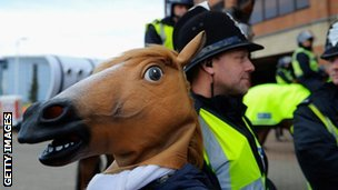 Sunderland fan dressed as a horse