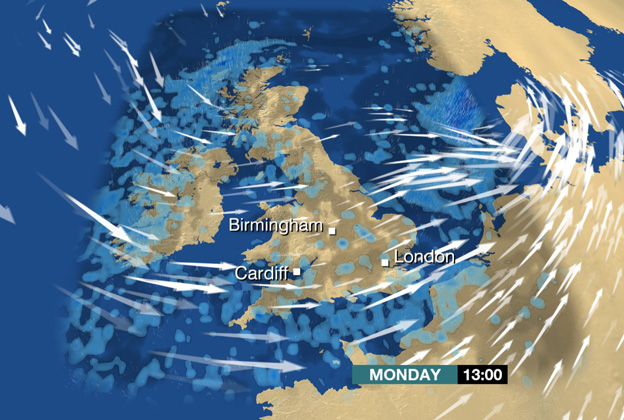 Forecast showing wind and rain over the UK at 13:00