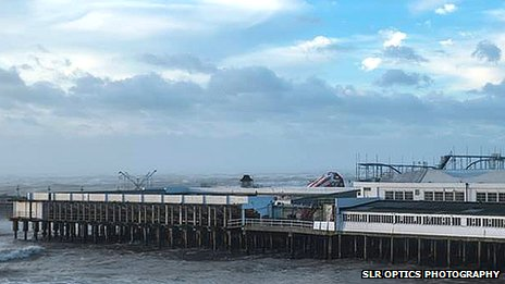 Clacton Pier's helter-skelter hit by storm
