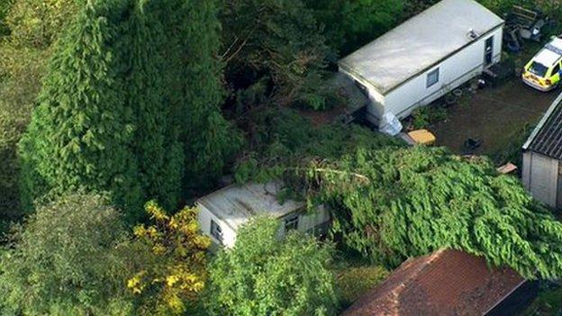 Crushed static caravan in Hever near Edenbridge